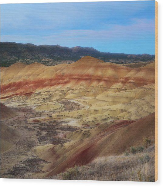 Painted Hills In Square Wood Print