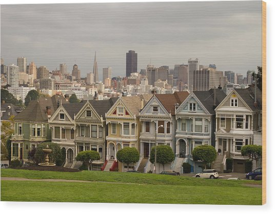 Painted Ladies Row Houses And San Francisco Skyline Wood Print