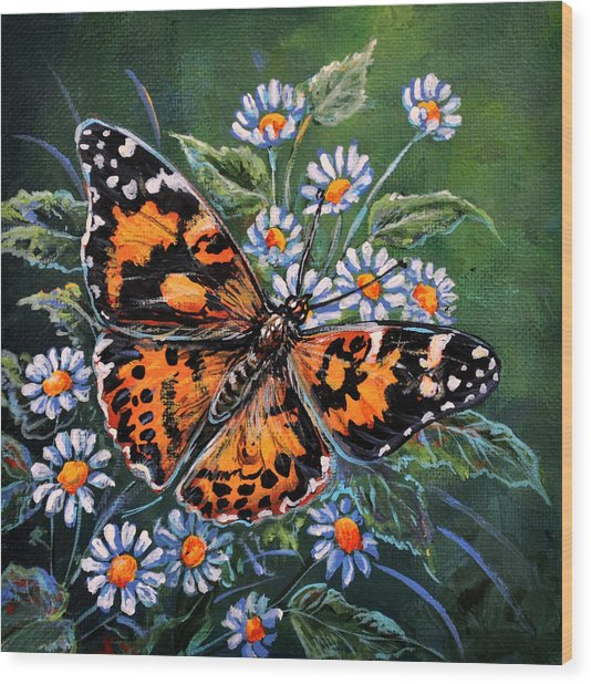 Painted Lady Wood Print