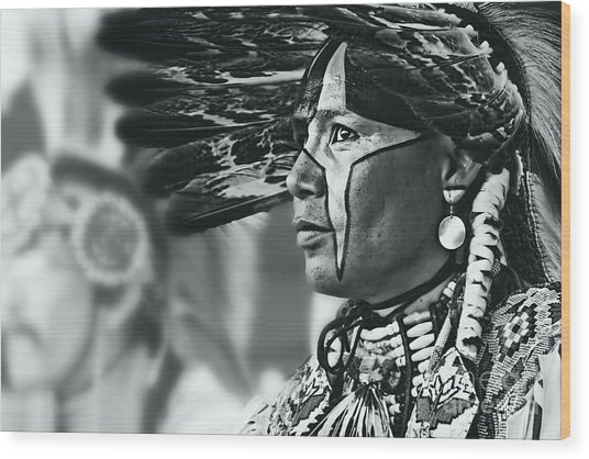 Painted Native In Silver Screen Tone Wood Print by Scarlett Images Photography
