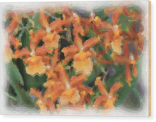 Painted Orchids Wood Print