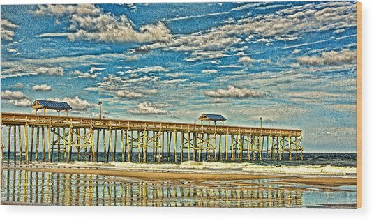 Surreal Reflection Pier Wood Print