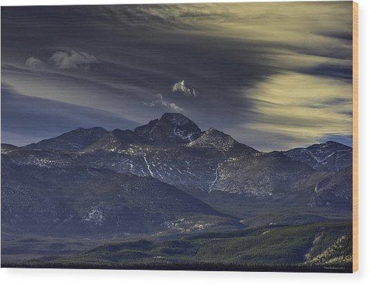 Painted Sky Over Longs Peak Wood Print by Tom Wilbert