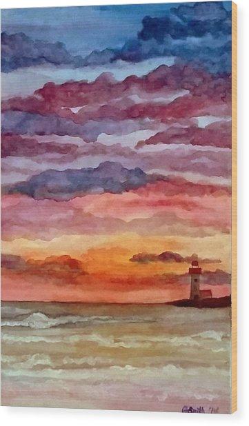 Painted Sky Over Ocean Wood Print