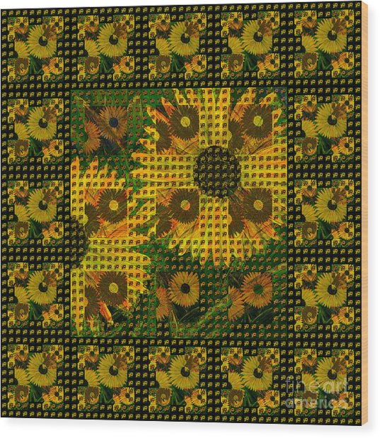 Painted Sunflower Abstract Wood Print