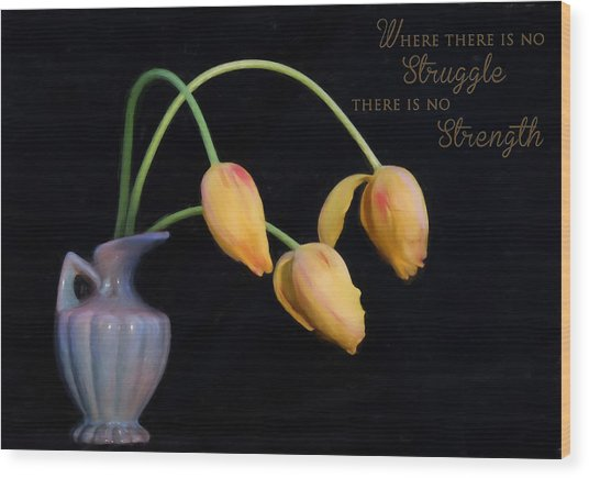 Painted Tulips With Message Wood Print