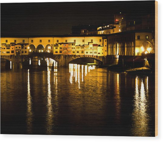 Painterly Ponte Vecchio Firenze Florence Italy Wood Print