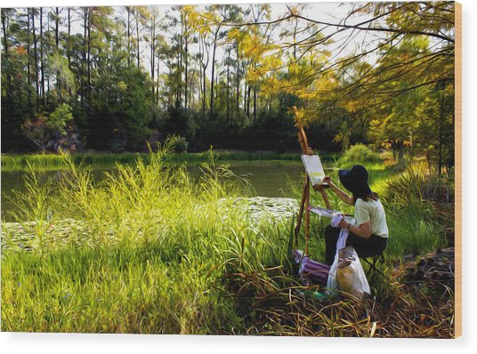 Painting At The Pond Wood Print