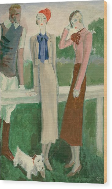 Painting Of A Fashionable Man And Two Women Wood Print