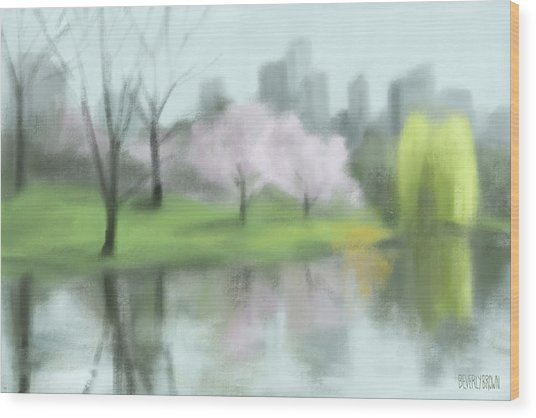 Painting Of Central Park In Spring Wood Print