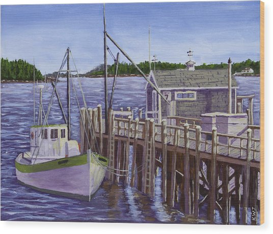 Fishing Boat Docked In Boothbay Harbor Maine Wood Print