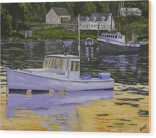 Fishing Boats In Port Clyde Maine Wood Print