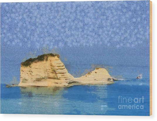 Islet In Peroulades Area Wood Print