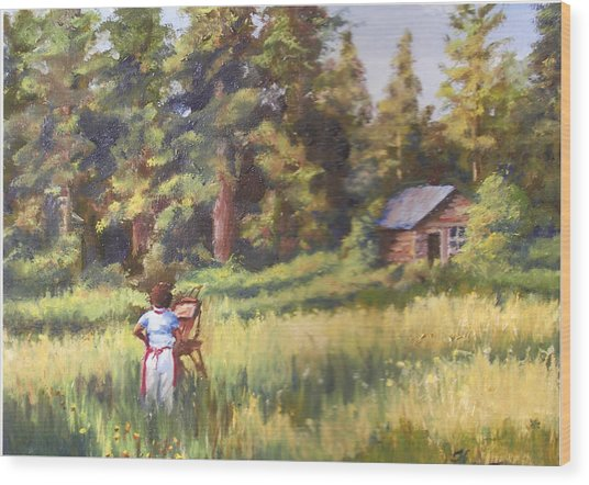 Painting Plein Aire In Idaho Wood Print