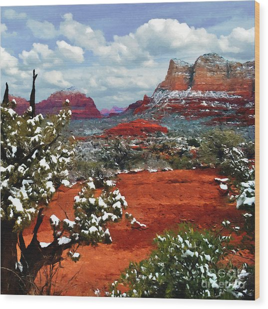 Painting Secret Mountain Wilderness Sedona Arizona Wood Print