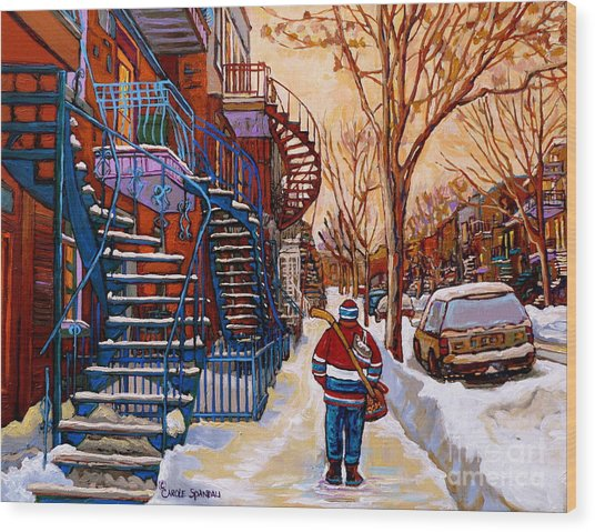 Paintings Of Montreal Beautiful Staircases In Winter Walking Home After The Game By Carole Spandau Wood Print