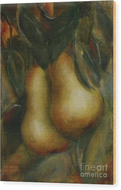 Pair De Pear Wood Print by Stella Violano