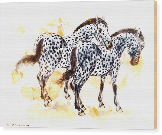 Pair Of Appaloosa Horses With Leopard Complex Wood Print by Kurt Tessmann