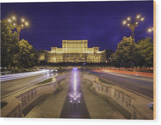 Palace Of Parliament At Night Wood Print by LordRunar