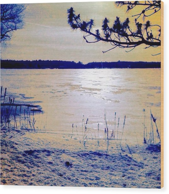 Pale Apricot Light Over Lake Ice - Square Wood Print