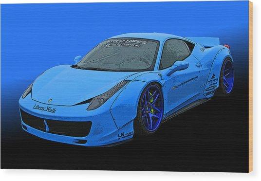 Pale Blue Ferrari 458 Italia Wood Print
