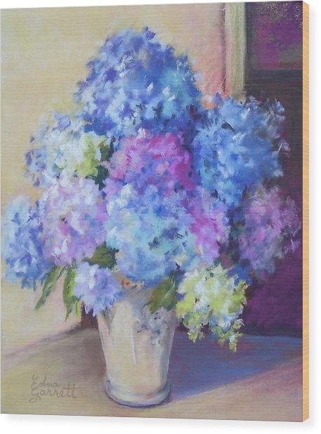 Pale Blue Hydrangeas  Wood Print