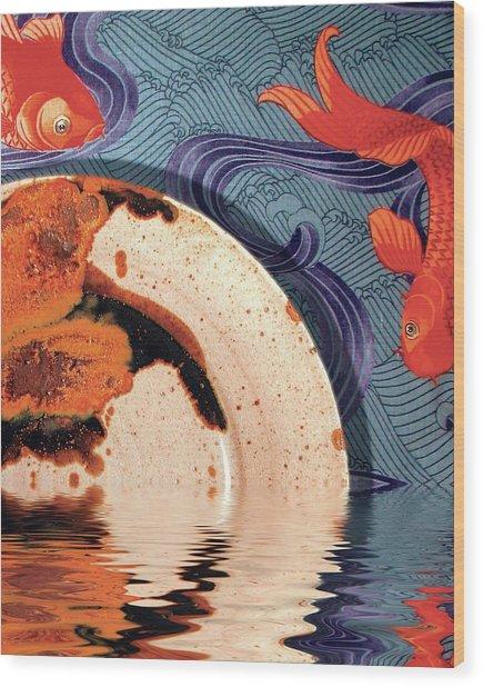 Palisander Stoneware Against F Schumacher Fabric Wood Print