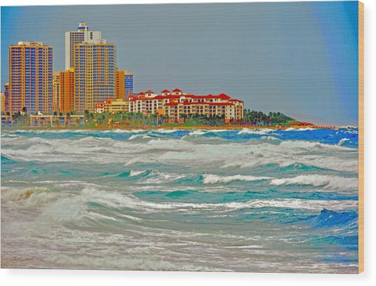 Palm Beach Post Card Wood Print