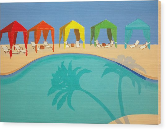 Palm Shadow Cabanas Wood Print