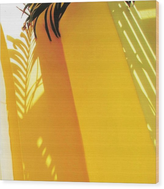 Palm Shadow On Yellow Wall - Square Wood Print