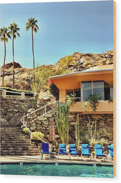 Palm Springs Pool Wood Print