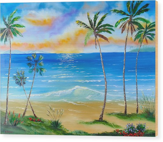 Palm Tree Paradise Wood Print