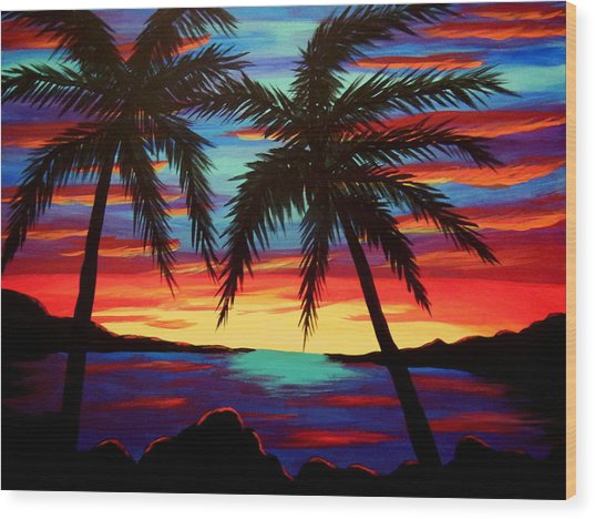 Palm Tree Sunset Wood Print by Virginia Forbes