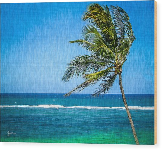 Palm Tree Swaying Wood Print