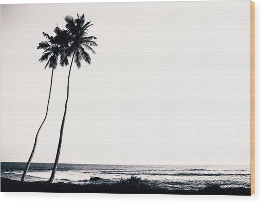 Palm Trees And Beach Silhouette Wood Print by Chrispecoraro