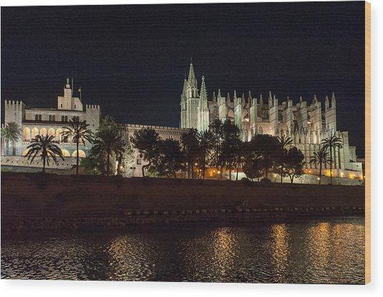Palma Cathedral Mallorca At Night Wood Print
