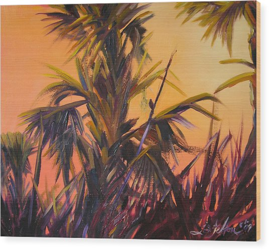 Palmettos At Dusk Wood Print