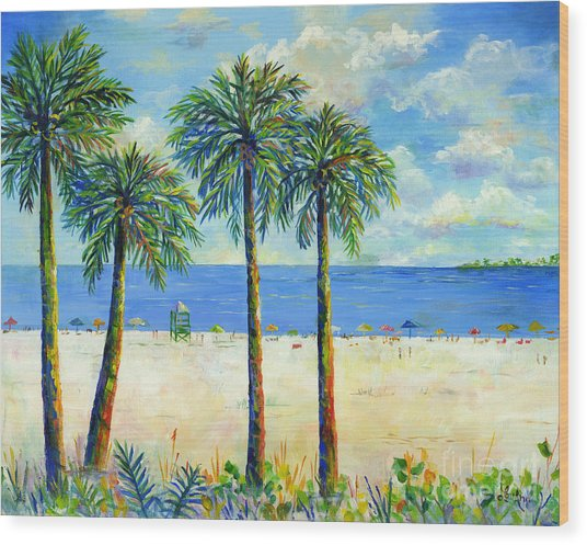 Palms On Siesta Key Beach Wood Print