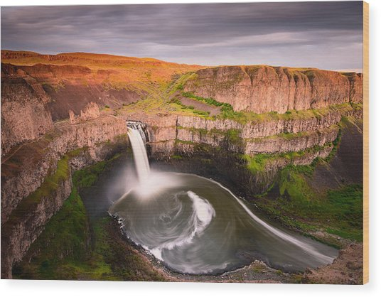 Palouse Falls Sunset Blush Wood Print