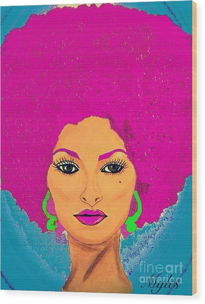 Pam Grier Bold Diva C1979 Pop Art Wood Print