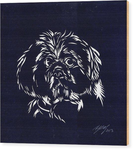 Pampered Dog Wood Print by Alfred Ng
