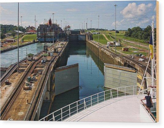 Panama Canal Locks With Ships Wood Print
