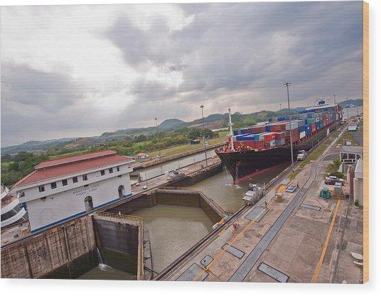 Panama Canal Miraflores Locks Wood Print