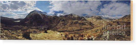 Panaramic Snowdonia Mountains Wood Print