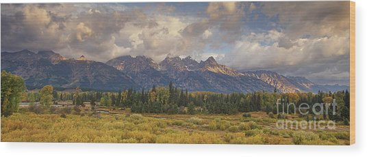 Panaroma Clearing Storm On A Fall Morning In Grand Tetons National Park Wood Print