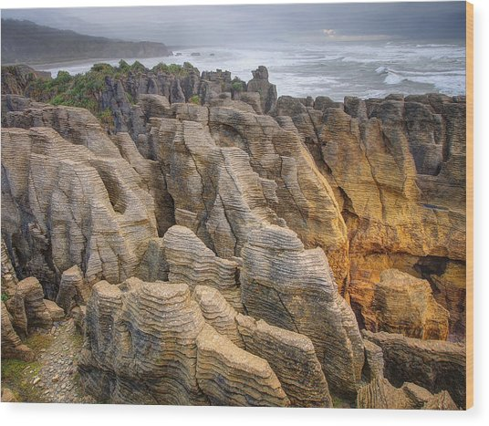 Pancake Rock Wood Print