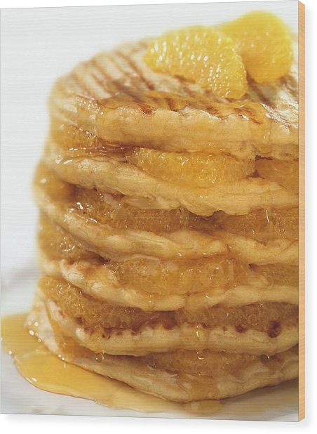 Pancakes With Oranges And Syrup Wood Print by Science Photo Library