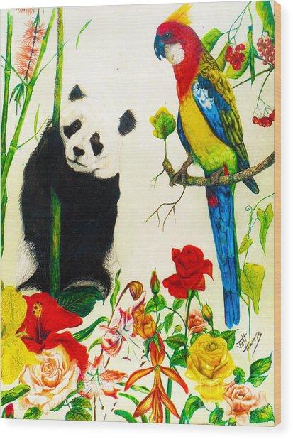 Panda And Parrot Wood Print