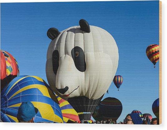 Panda Balloon Wood Print
