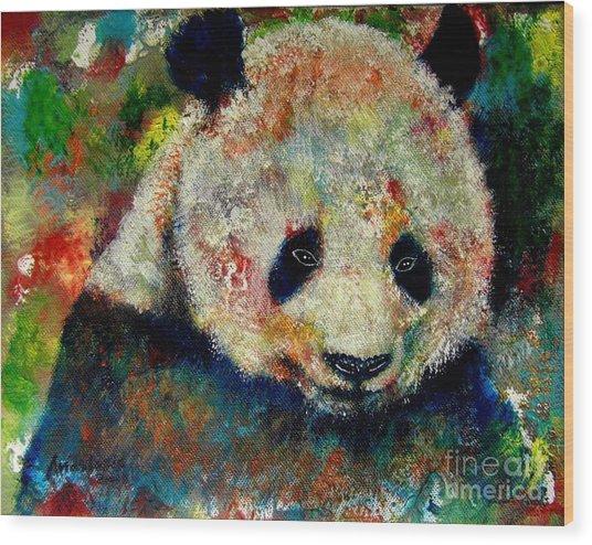 Panda Bear Wood Print by Anastasis  Anastasi